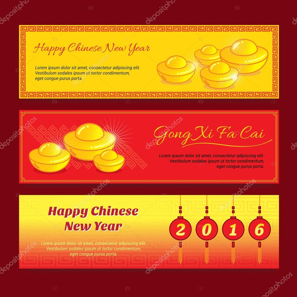 set of chinese new year banner design with gong xi fa cai greeting word means wishing you a prosperous year in english vector by beinluck