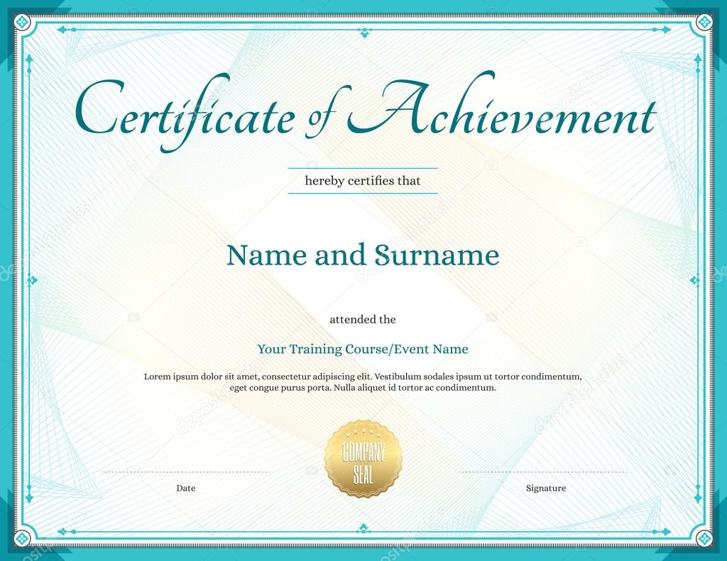 Certificate Of Achievement Template In Vector For Achievement Gr