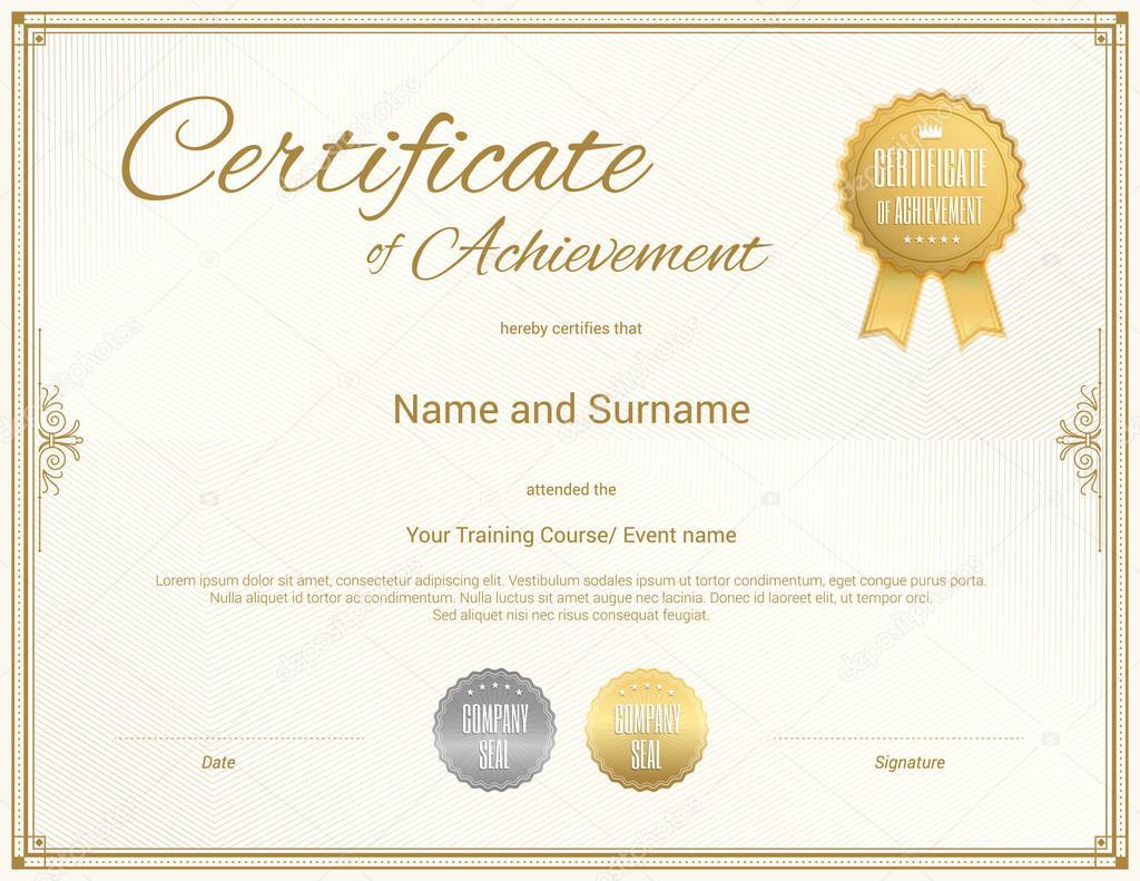 Zertifikatvorlage in Vektor für Leistung Abschluss Abschluss ...