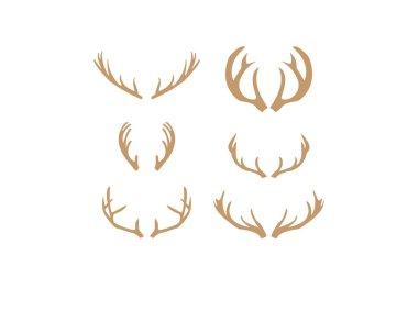 Brown silhouettes of deer antlers vector