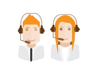 call center avatars illustration vector