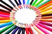 Set of Realistic Colorful Colored Pencils or crayons lined in a circle