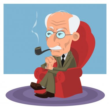 Caricature of a psychiatrist, psychologist and psychotherapist Carl Jung