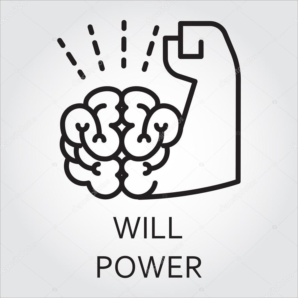 Schwarze Flache Linie Vektor Icon Mit Einem Bild Von Willenskraft