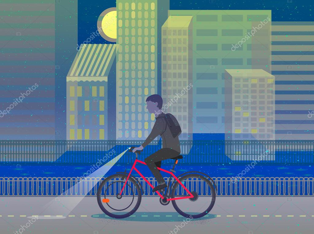 Hipster Man Cycling His Fixie Bike Night City Design Character