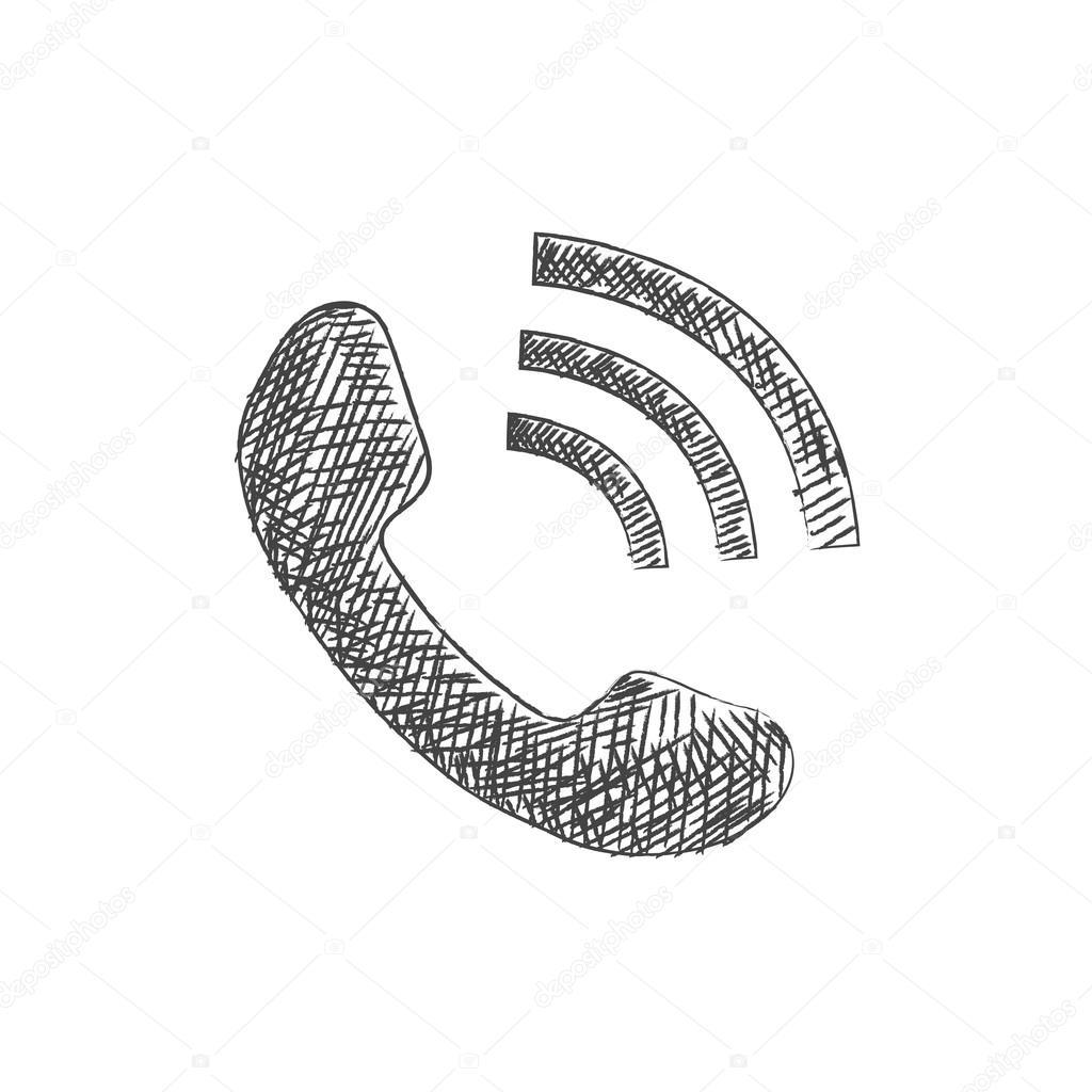 Stock Illustration Hand Drawn Phone Sketch Icon