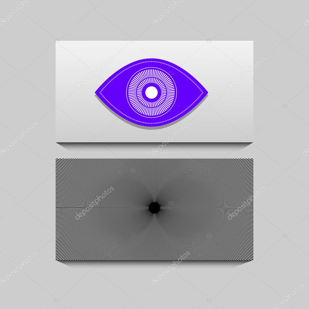 Business card with flat eye and illusion