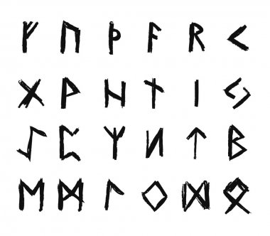 Alphabet with ancient Old Norse runes (Futhark) Set of 24 scandinavian and germanic letters on square white landscape background.