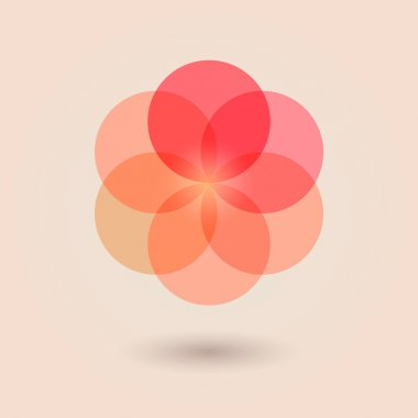 Red Flower of Life.Vector illustration