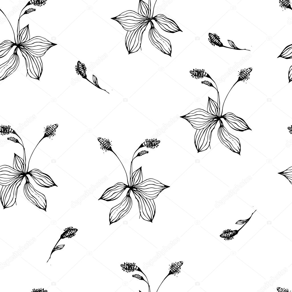 Vintage floral seamless pattern with hand drawn flower