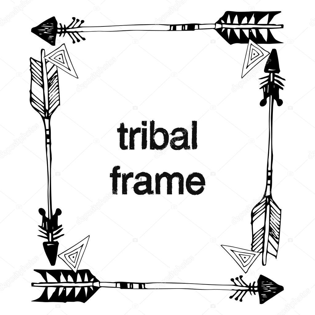 Colección de marcos tribales vector ornamental — Vector de stock ...