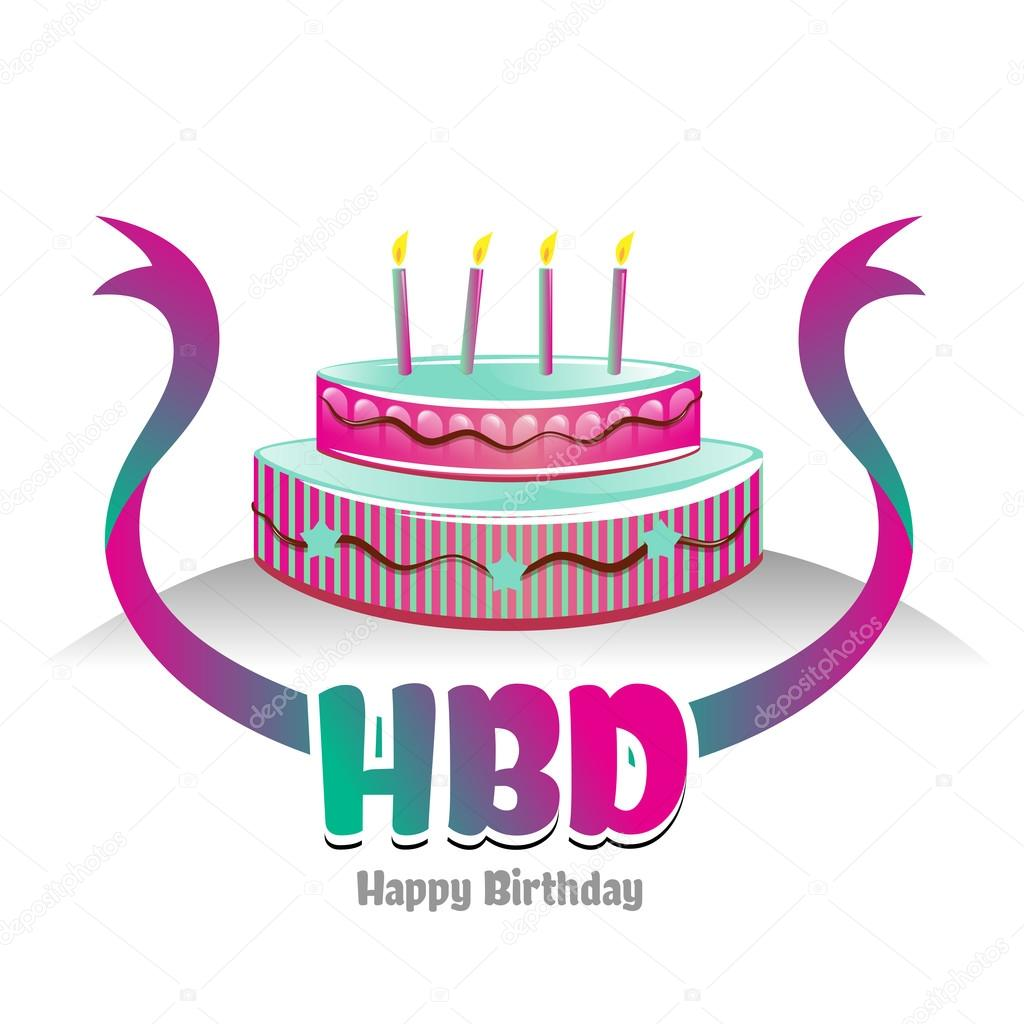 Happy Birthday logo-symbol with cake design. create by vector file — Vector by ...