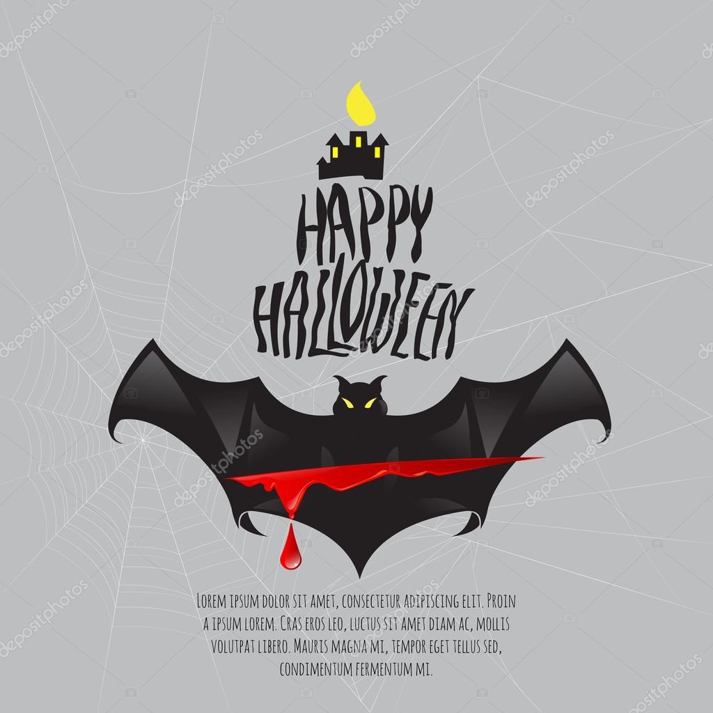Happy Halloween mit Fledermaus und Blut Vorlage Logo für Plakat bann ...