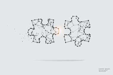 Particle art, geometry, lines, and dots. Vector graphic concept of Puzzle. The stroke weight can be modified. icon