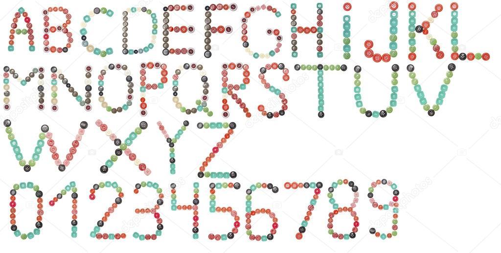 vollständige englische Alphabet und Zahlen Farben Tasten — Stockfoto ...