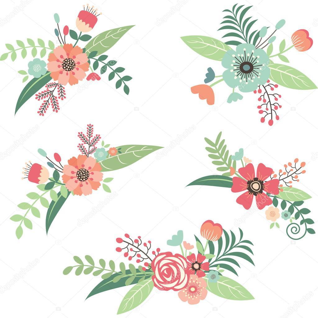 株式ベクトル イラスト 結婚式の花の花束セット ストックベクター