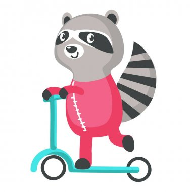 Cutr raccoon on a kick scooter icon isolated on white background. Vector illustration. icon