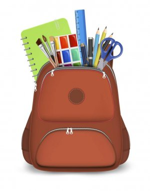 Red backpack with school supplies, vector isolated illustration. Realistic rucksack with zipper, pockets, straps. Children school bag with notebook, ruler, scissors, pens, pencils, paint brushes. icon