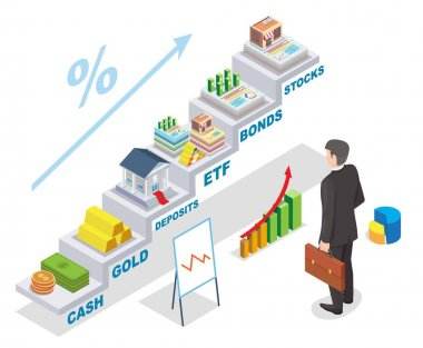 Investment earnings vector isometric illustration. Businessman looking at financial investments income raising chart.