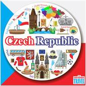 Česká republika kolo pozadí. Vektor barevný plochý soubor ikony a symboly
