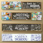 Vissza az iskolába vízszintes transzparensek doodle, levélpapírok és más Iskolai tantárgyak. Standard web arányok