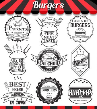 Vector set of labels, stickers,logos and logotypes elements for burger and hamburger