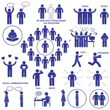 Introverts and extroverts vector pictograms. Set stick human figures