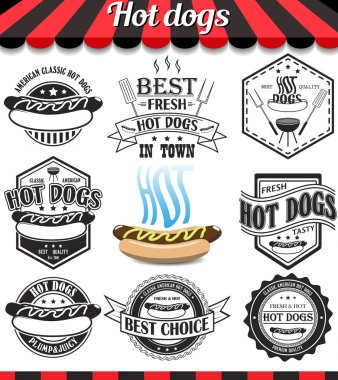 Hot dogs collection of vector signs, symbols and icons. Set of design elements, badges stickers and labels food set.