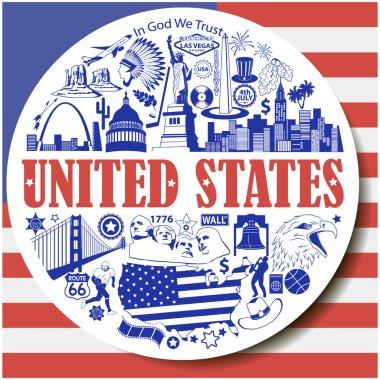 United States round background. Set vector icons and symbols  of USA landmarks
