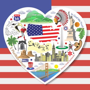USA Love. Set american landmarks icons and symbols in form of heart