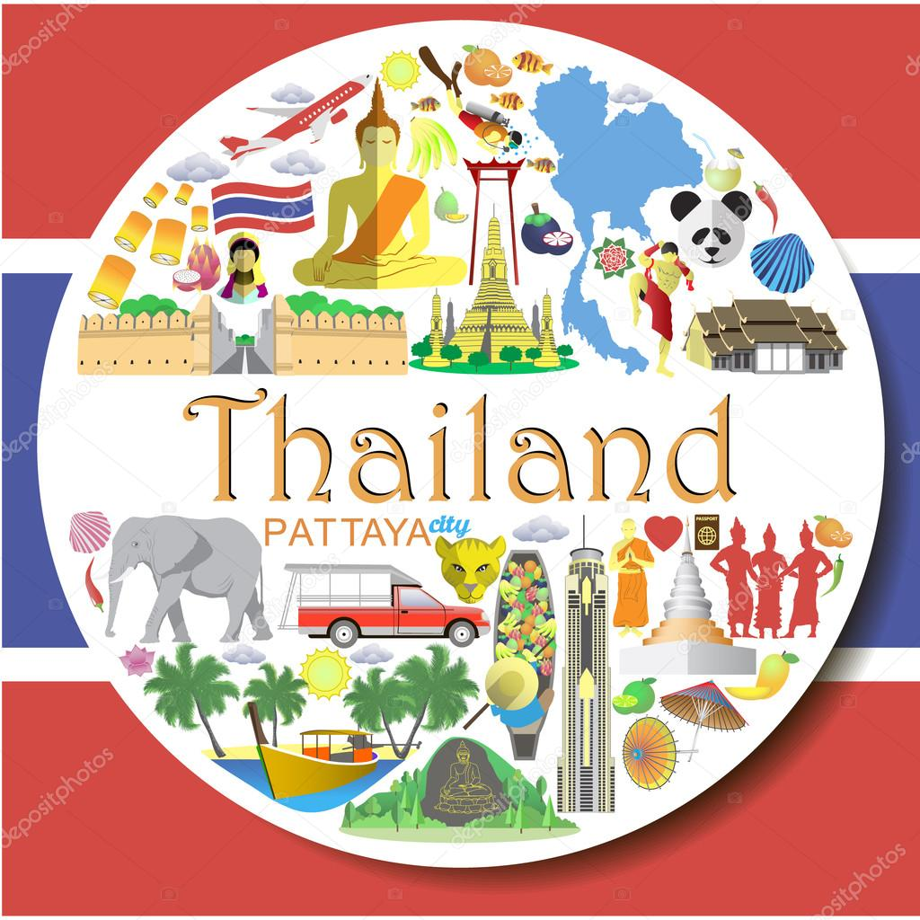 Thailand round background. Set colored flat vector icons and symbols of Thailand