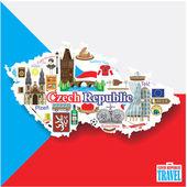 Česká republika pozadí. Nastavit vektor památky ikony a symboly v podobě mapy