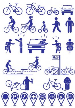Vector set pictograms bicycle infrastructure icons. Vector bike accessories set.Various cycling poses in silhouettes