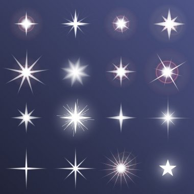 Set of Vector glowing light effect stars bursts with sparkles on dark background. Transparent vector stars