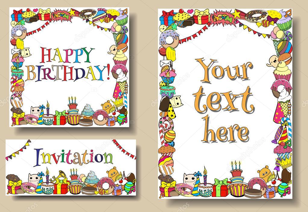 Grußkarten Geburtstag-Partei Vorlagen mit Süßigkeiten doodles ...