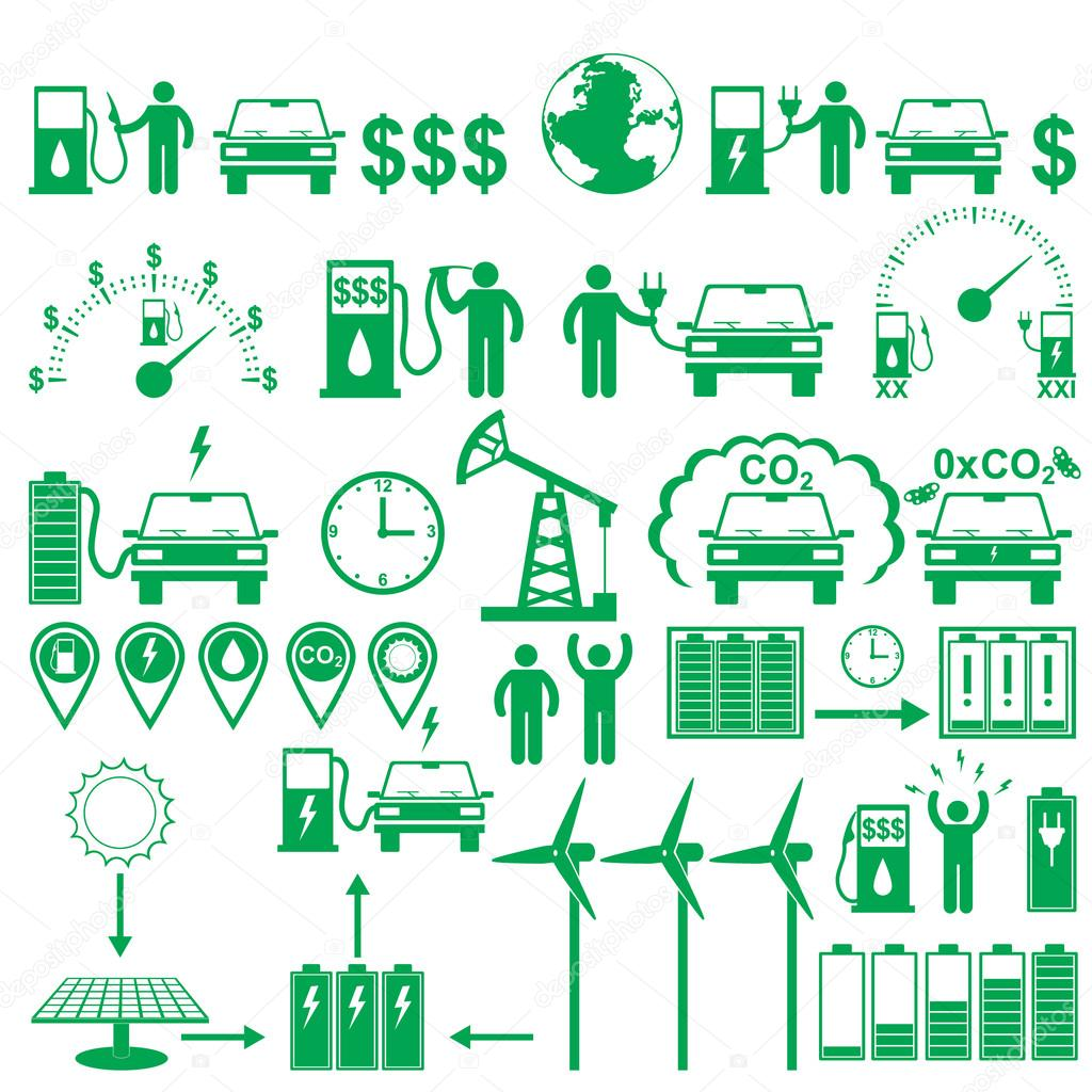 Vector electric cars stick pictograms set. Ecology and environment infographics elements and figures