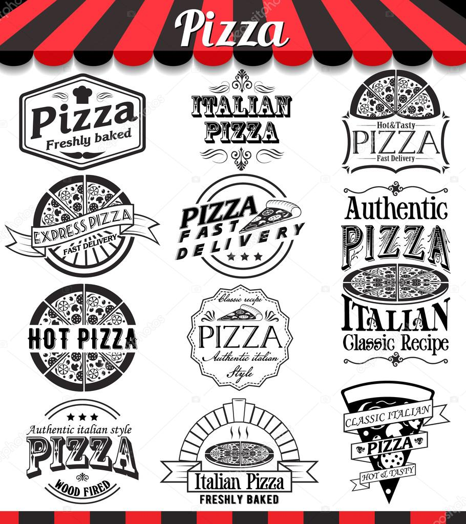 Collection Of Vector Pizza Signs Symbols And Icons Vector Pizza
