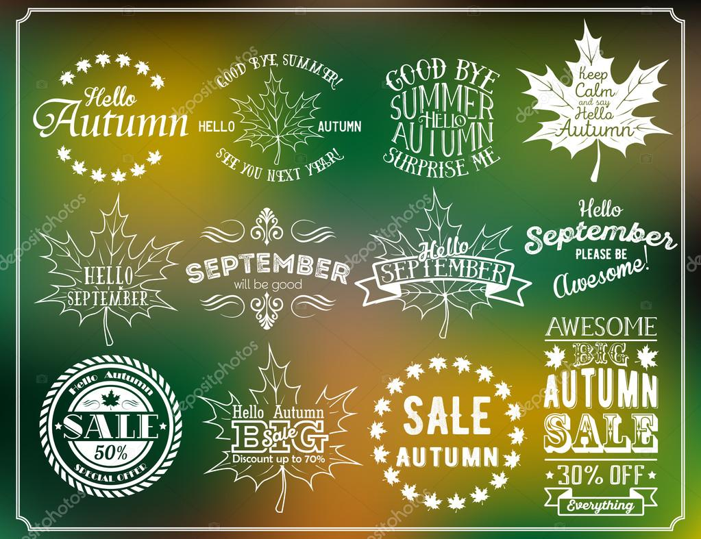 Hello Autumn and Hello September vintage labels. Autumn sale badges
