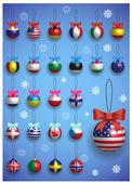 Vánoční dekorace s různými mezinárodními vlajkami. Vánoční realistické barevné koule visící