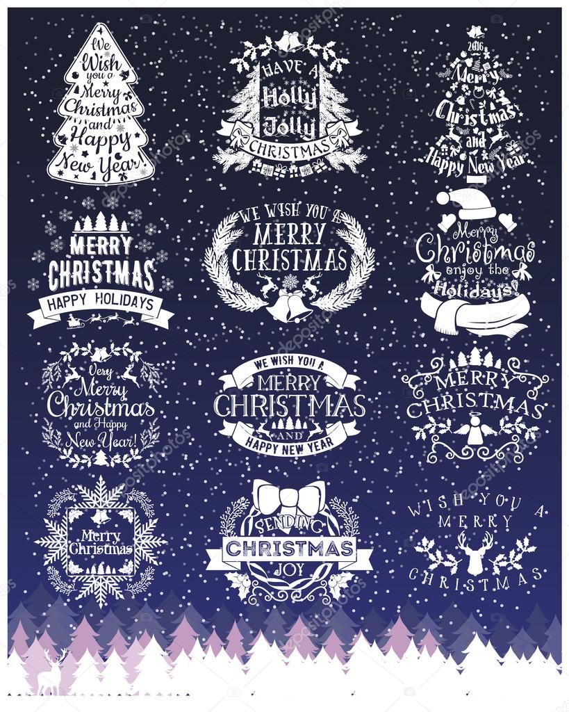 Vintage Merry Christmas And Happy New Year chalk Calligraphic And ...
