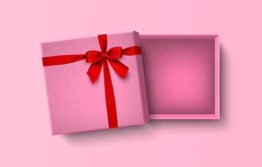 Opened pink empty gift box with red bow and ribbon, vector illustration icon