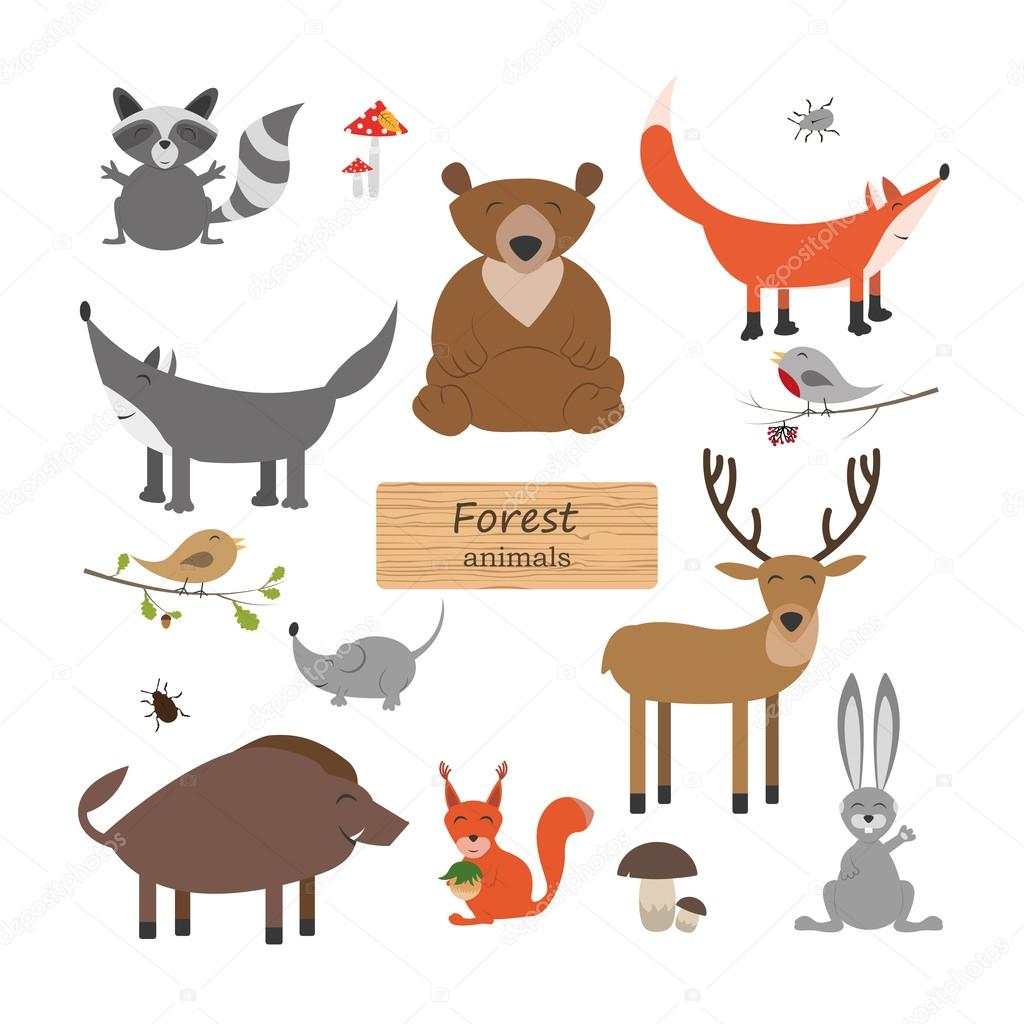 Forest animals in cartoon style on white background. Forest anim