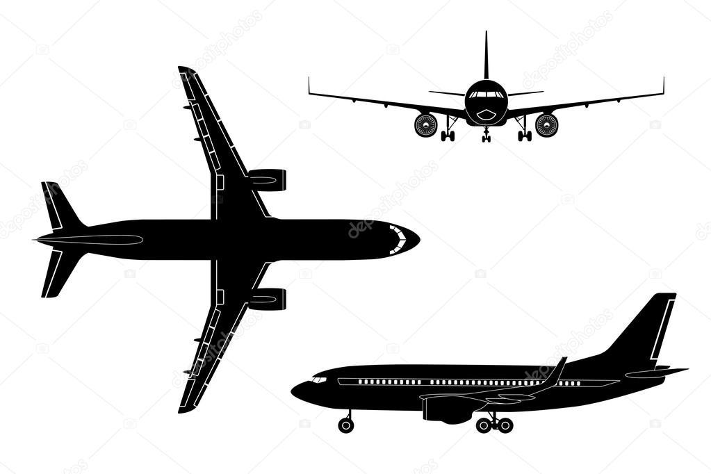 Vector: Siluetas De Aviones Comerciales