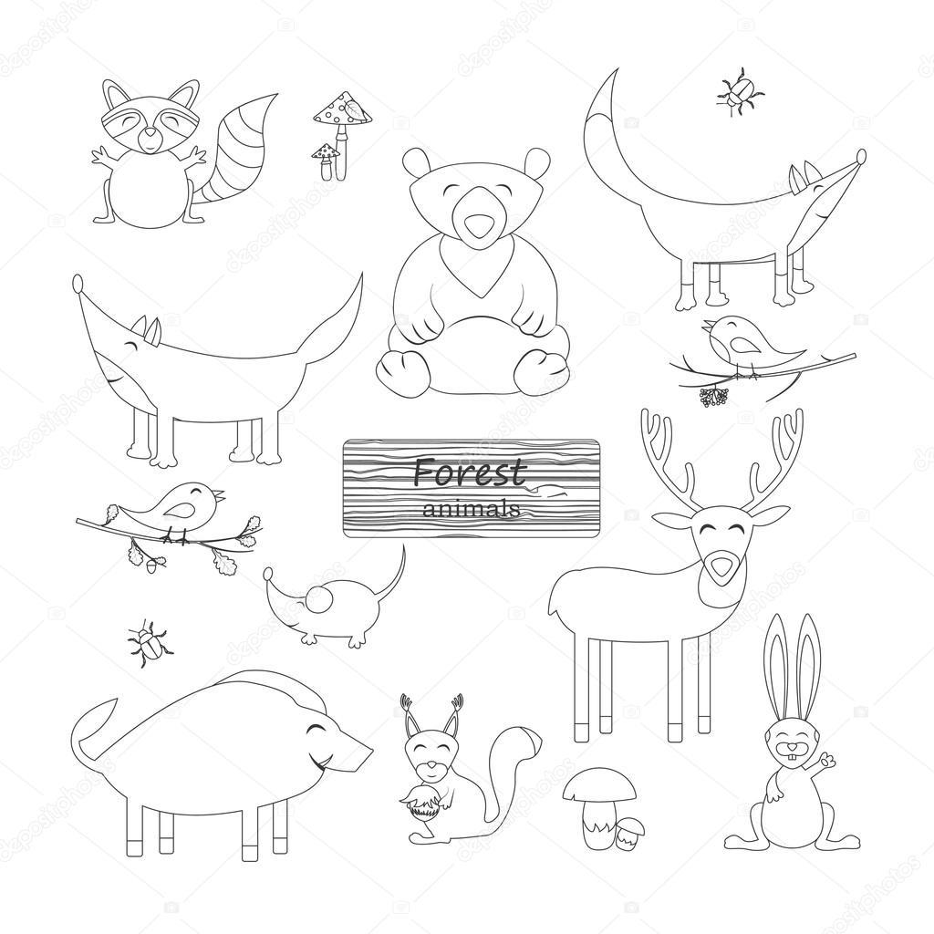 Kleurplaten Van Dieren In Het Bos.Kleurplaat Boek Bos Dieren Bos Dieren In Cartoon Stijl