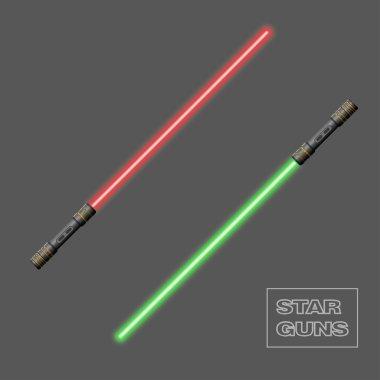 Star guns. Video game weapon. Virtual reality device. Light swor