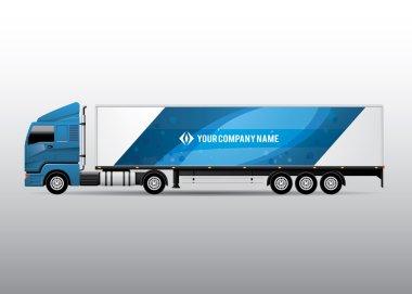 Advertisement or Corporate Identity Design Template on Blue Semi-trailer Truck