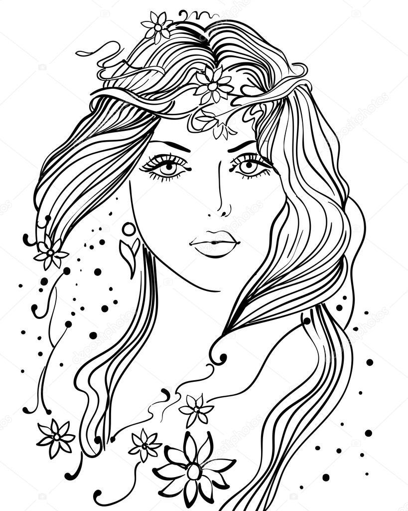 Güzel Kız çizgi Resimler Stok Vektör Linakadrova 115370982