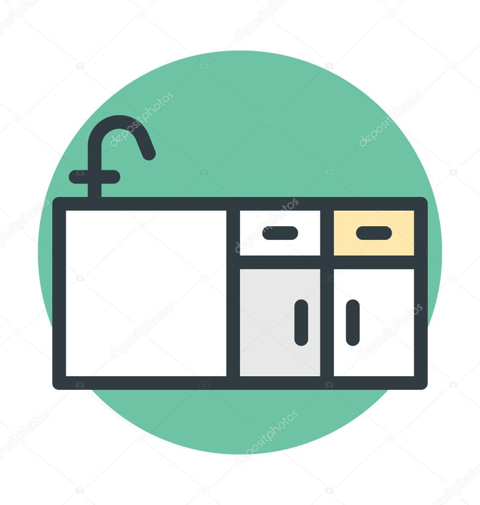 Küche Spüle Vektor Icon — Stockvektor © vectorsmarket #100394680