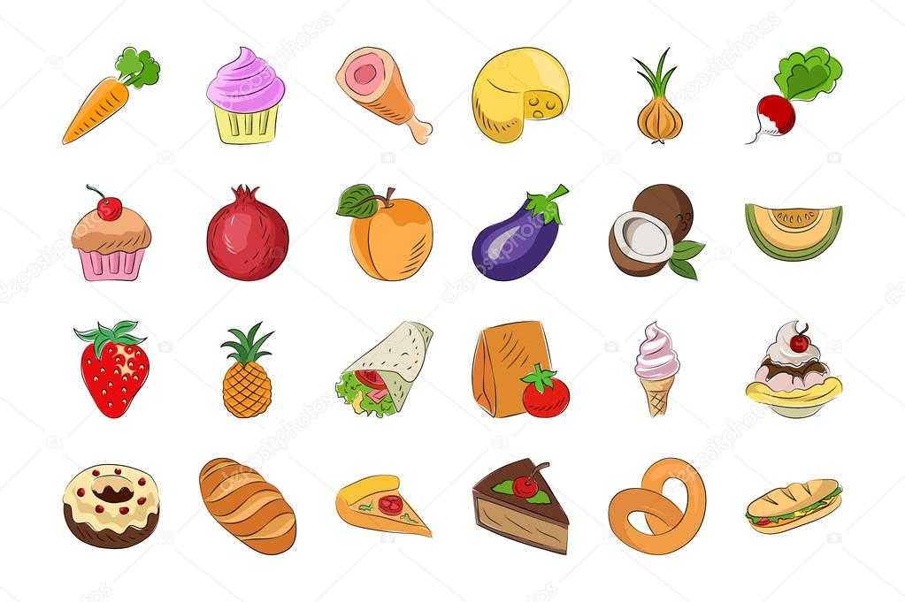 Food Hand Drawn Colored Vector Icons 1