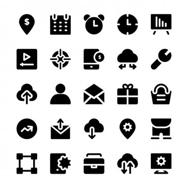Set of seo and marketing solid icons. stock vector